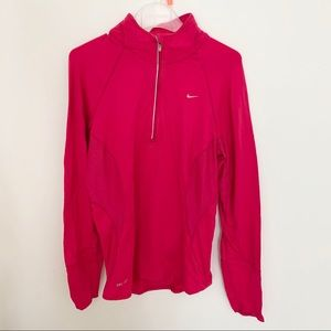 Nike hot pink dri fit 1/2 zip running long sleeve